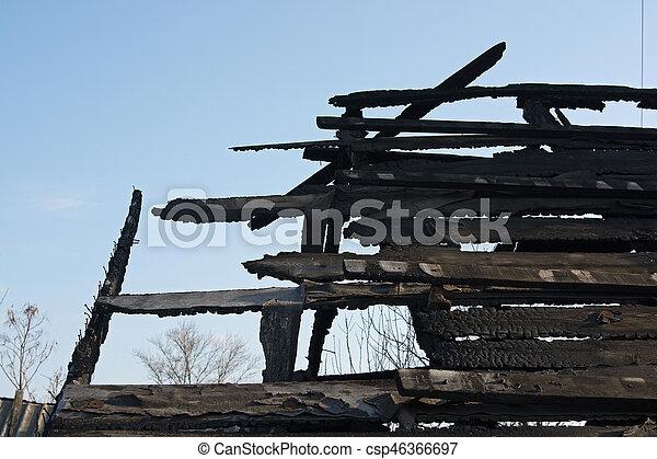 Close up abandoned burnt house - csp46366697
