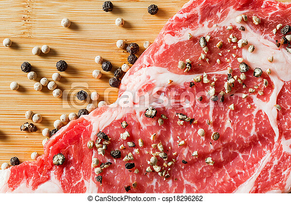 close up aged beef ribeye with pepper - csp18296262