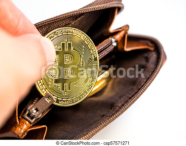 Close up bitcoin gold coins with wallet on the white background. Virtual cryptocurrency concept. - csp57571271