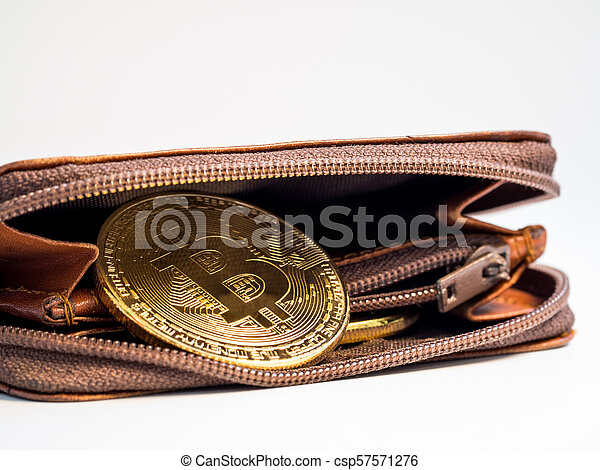 Close up bitcoin gold coins with wallet on the white background. Virtual cryptocurrency concept. - csp57571276
