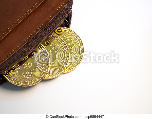 Close up bitcoin gold coins with wallet on the white background. Virtual cryptocurrency concept. - csp58944471