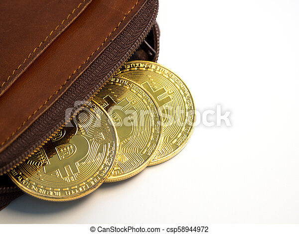 Close up bitcoin gold coins with wallet on the white background. Virtual cryptocurrency concept. - csp58944972