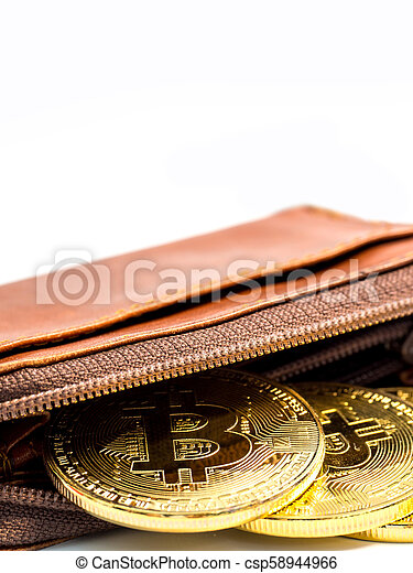Close up bitcoin gold coins with wallet on the white background. Virtual cryptocurrency concept. - csp58944966