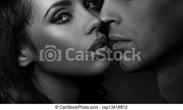 Close up black and white portrait of a loving couple - csp13416812
