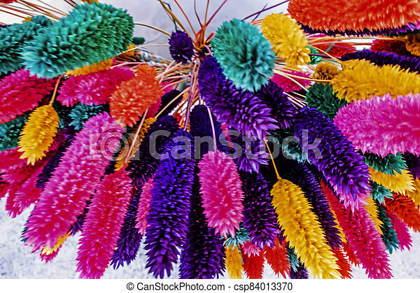 close up colorful dried flowers - csp84013370