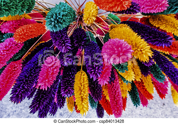 close up colorful dried flowers - csp84013428