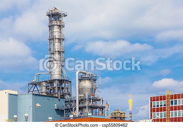 Close up exterior strong metal structure of oil refinery plant in heavy industry - csp55809462