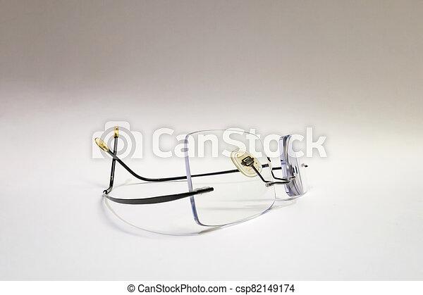 close up eyeglasses on white background - csp82149174
