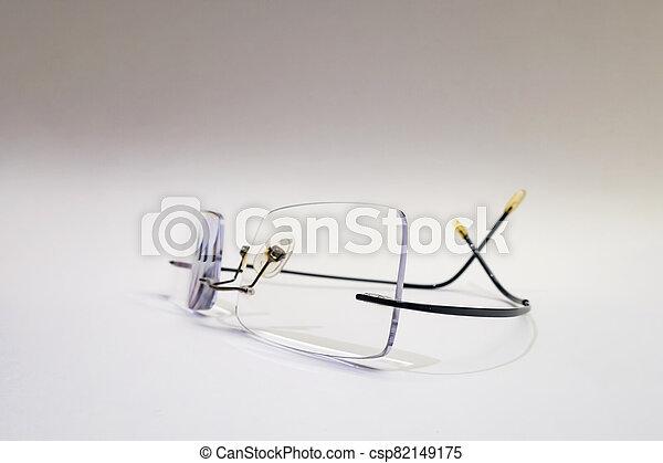close up eyeglasses on white background - csp82149175