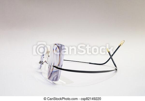 close up eyeglasses on white background - csp82149220
