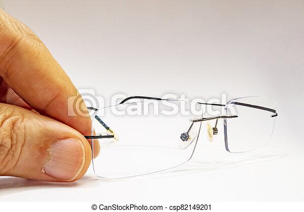 close up eyeglasses on white background - csp82149201