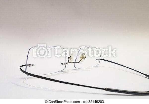 close up eyeglasses on white background - csp82149203