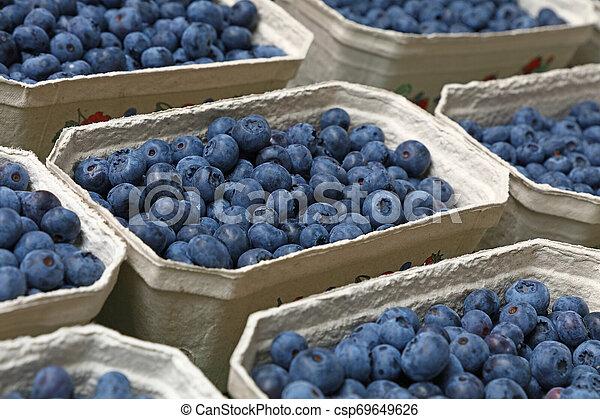 Close up fresh blueberry on retail display - csp69649626