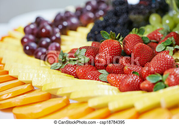 close-up fruit catering table set - csp18784395