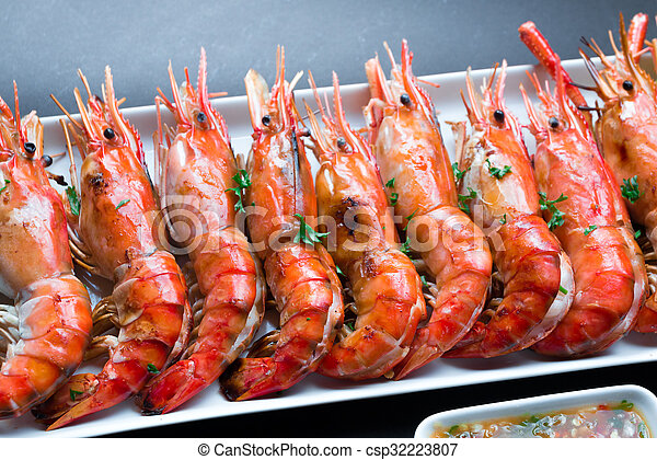Close up Grilled Giant River Prawn