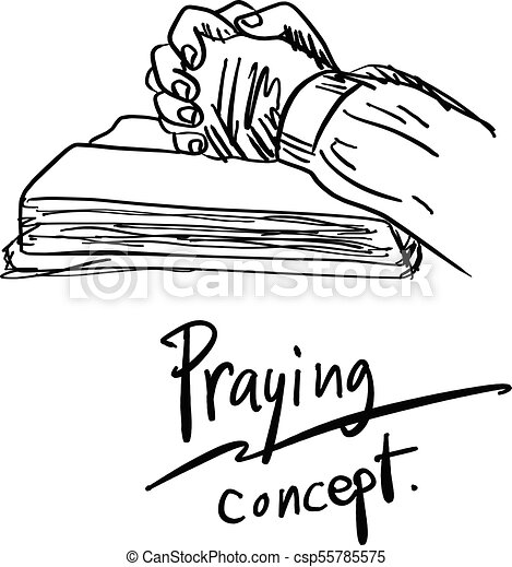 close up hand praying on bible vector illustration sketch hand drawn