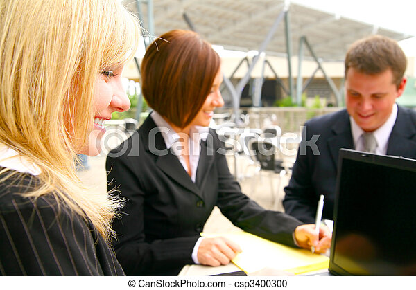 Close Up Happy Business Woman And Associates - csp3400300