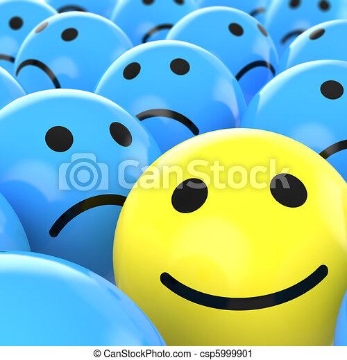 close up happy smiley beteen sad ones - csp5999901