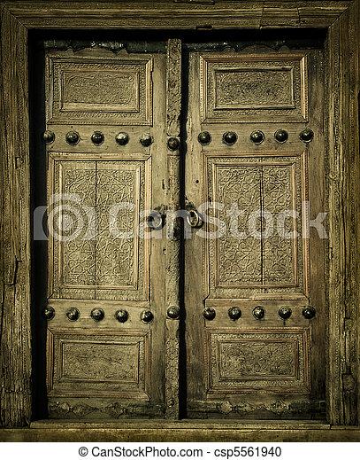 close-up image of ancient doors - csp5561940