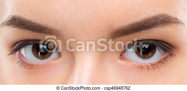 Close up image of female brown eyes - csp46948762
