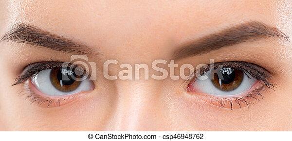 Close up image of female brown eyes - csp46948762