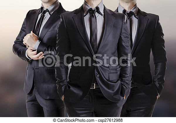 Close up image of three business me - csp27612988
