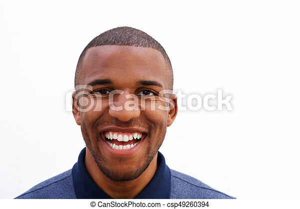 a6415ae6292 Close up laughing young black guy on white background. Close up ...