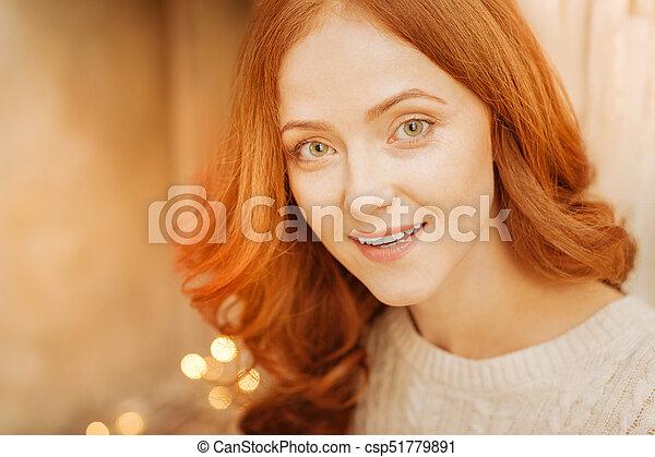Closeup mature redhead