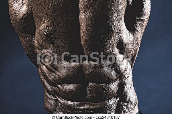 close-up, músculos, abdominal, bodybuilder - csp24340187