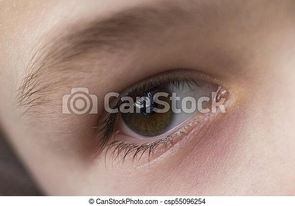 Close up macro of child boy eye - csp55096254