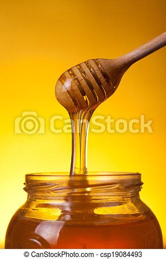 close-up, madeira, tiro, mergulhador mel, fluir - csp19084493