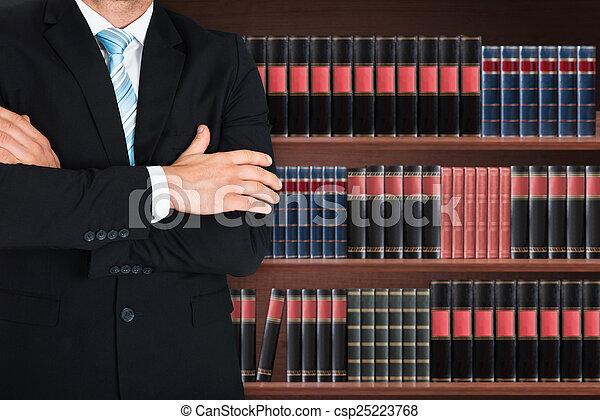 close-up, mannelijke , gekruiste arm, advocaat - csp25223768