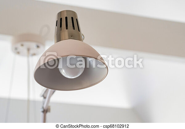 Close Up Modern Office Lamp On White Blurred Background Modern