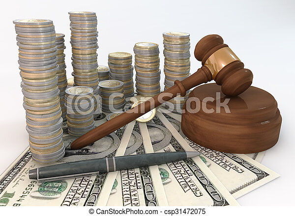 Close up Money Stack of Auction - csp31472075