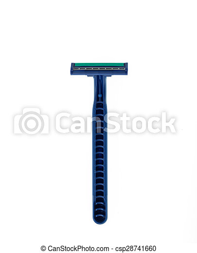 Close up new blue shaver isolated on white - csp28741660