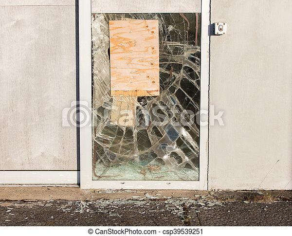 Close up of a broken window - csp39539251