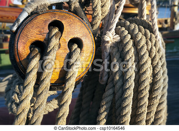 Close-up of a fasten rope - csp10164546