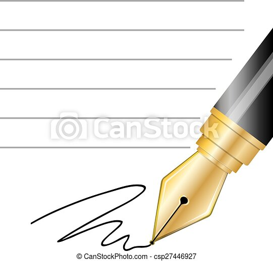 Close up of a fountain pen and signature - csp27446927