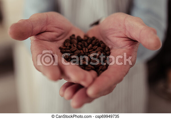 Close up of a handful of coffee beans. - csp69949735