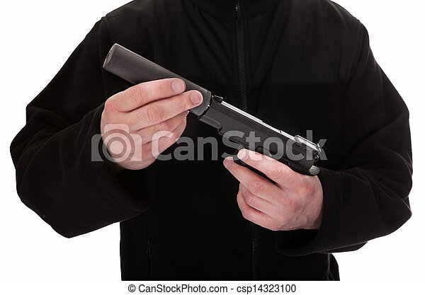 Close-up Of A Man Holding Handgun - csp14323100