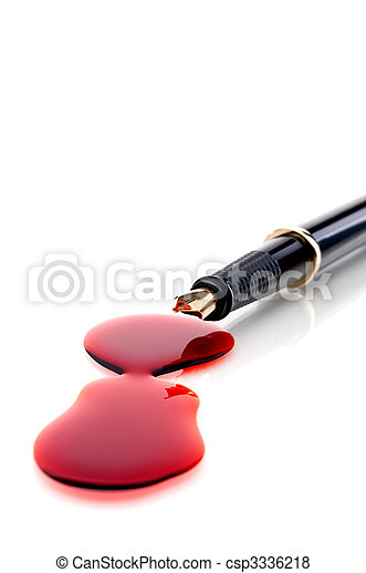 Close up of a pen and blood  - csp3336218