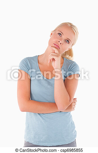 Close up of a pensive woman - csp6985855