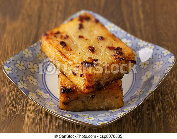 close up of a plate of asian fried carrot cake - csp8078835