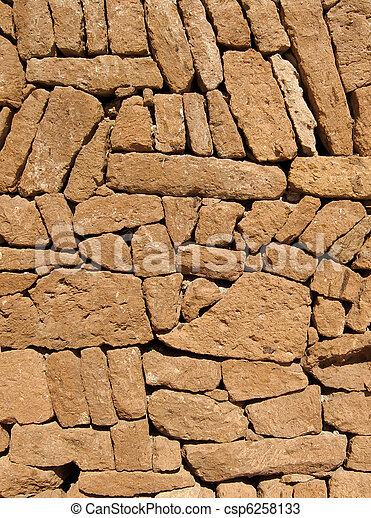 Close up of a Spanish stone wall. - csp6258133