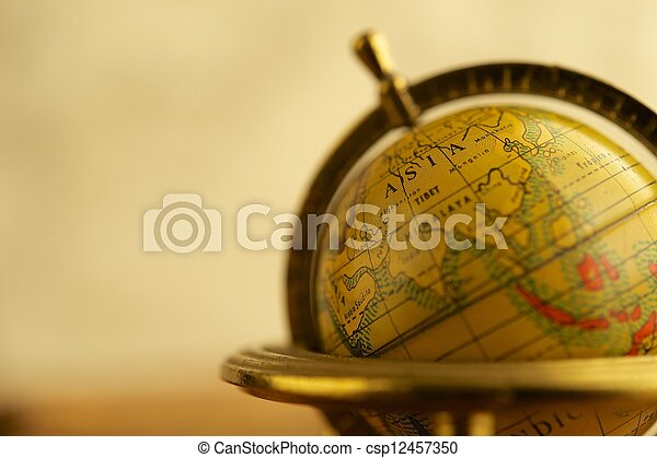 Close-up of a vintage globe - csp12457350