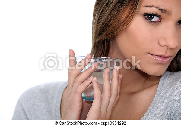 close-up of a woman with glass of water - csp10384292