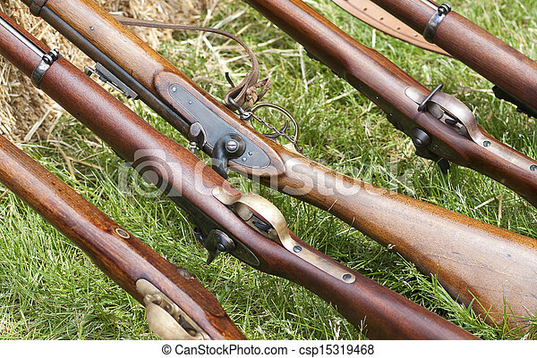 Close-Up of American Civil War Muskets