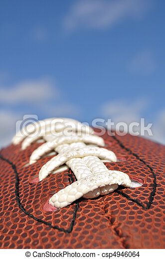 Close-up of American Football Texture and Laces - csp4946064