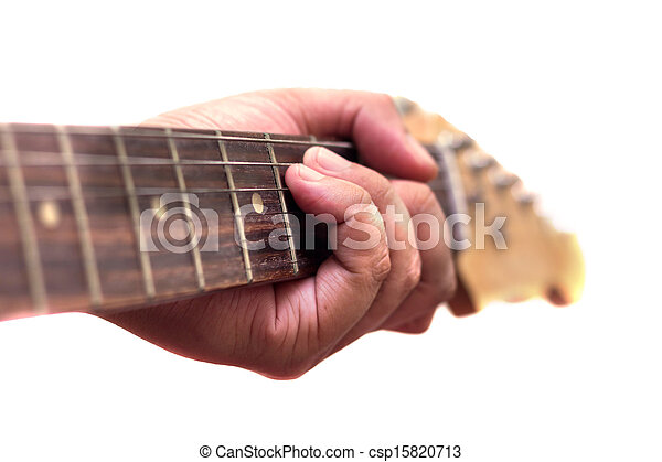 Close up of an electric guitar being played - csp15820713