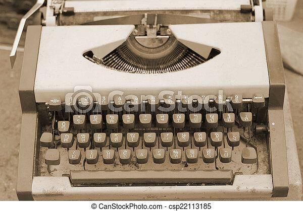 Close up of antique typewriter keys - vintage retro - csp22113185